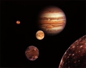 Jupiter and its four moons. (Credit: NASA/JPL)