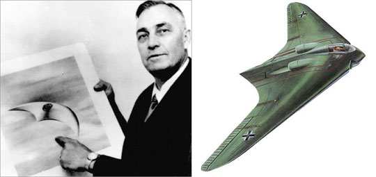 Left: Kenneth Arnold with an illustration of a UFO he saw in 1947. Right: Illustration of a flying wing.
