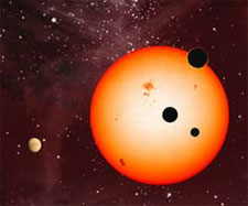 Artist's illustration of extrasolar planets discovered around the star Kepler 11 by the Kepler Space Telescope (credit: Nature)