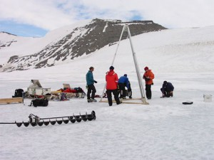 The research team drilling into Lake Hodgson. (Credit: BAS)