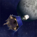 Rendering of the LCROSS 'bombing' the moon. (credit: NASA)
