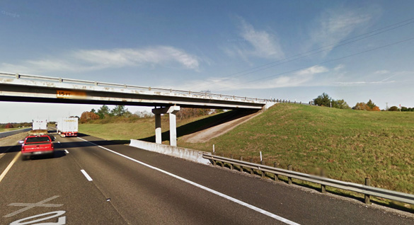 The witness was driving along I-20 in Lindale, TX, when the hovering object was noticed near the roadway. Pictured: A bridge area along I-20 in Lindale. (Credit: Google)
