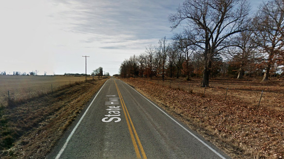 Several other cars drove along this stretch of Highway A near Long Lane, MO, on June 17, 2014, when the reporting witnesses say the object hovered just above the tree tops. (Credit: Google)