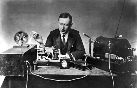 Guglielmo Marconi with his equipment.