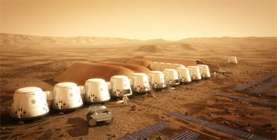 Artist&#039;s rendition of human settlements on Mars. (Credit: Mars One)