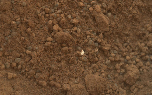 Shiny particle found in the Martian soil. (Credit: NASA/JPL-Caltech)