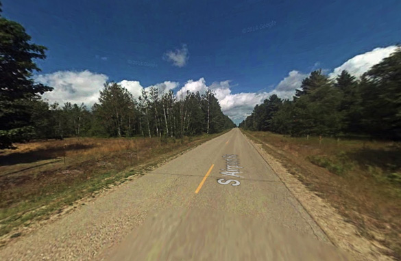 The witness was driving along South Airport Road, pictured, when the disc-shaped object began to follow him. (Credit: Google)