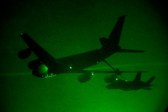 The first F-35 night refueling mission, March 22, 2012 at Edwards Air Force Base, Calif. (Credit: Lockheed-Martin)