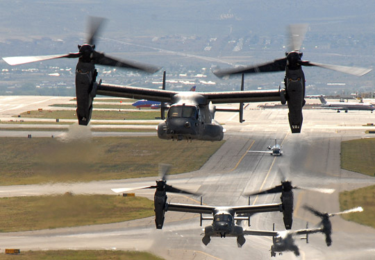 Ospreys taking off from Kirtland Air Force base (Credit: USAF).