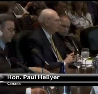 Hon. Paul Hellyer testifying at the Citizen Hearing on Disclosure. (Credit: Citizen Hearing on Disclosure)