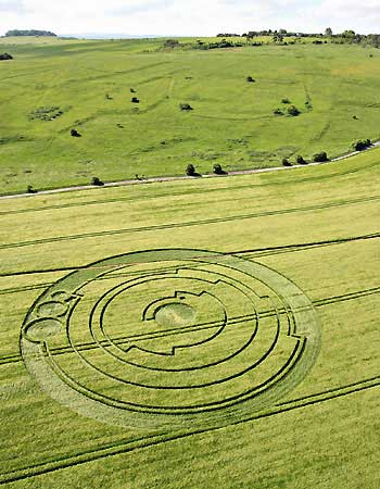 Crop Circle near Bradbury Castle in Wiltshire. It was found to be a representation of Pi and is now used as our OpenMinds Production logo (image credit: Lucy Pringle).