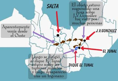 The path the UFO is believed to have taken from near Salta to JV Ganzalez and then on to the damn near El Tunal.