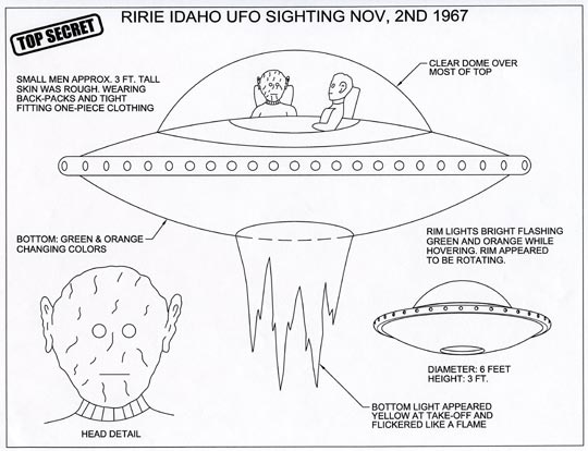 Illustration of the craft and beings in the Idaho sighting (credit: Michael Schratt).