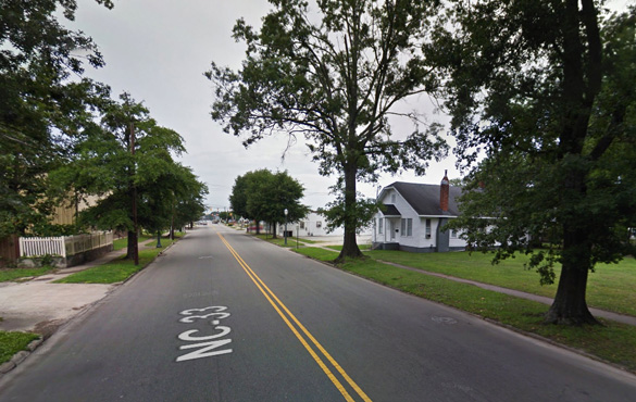 The witness has seen the same object three times within a one-mile radius during February 2014. Pictured: Street scene in Tarboro, NC. (Credit: Google)