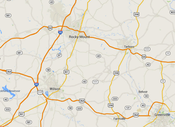 The object was seen in the Tarboro, NC area. The town is approximately 72 miles from Raleigh, the state capital, and 25 miles from Greenville. (Credit: Google)