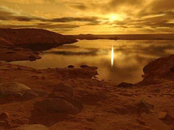 An illustration of a lake on Titan. (Credit: Ron Miller)