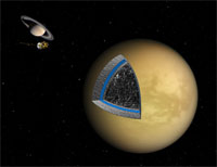 Artist's concept of Titan's underground ocean (credit: NASA/JPL)