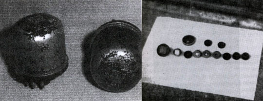 Left: German Klystron tube of 1940-1941. Right: German semiconductor chips