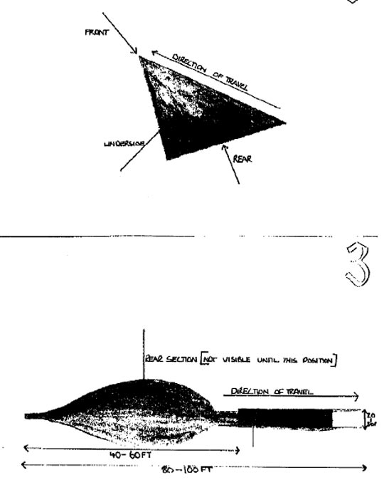 Drawing by pilots of UFO that nearly missed their commercial airline.