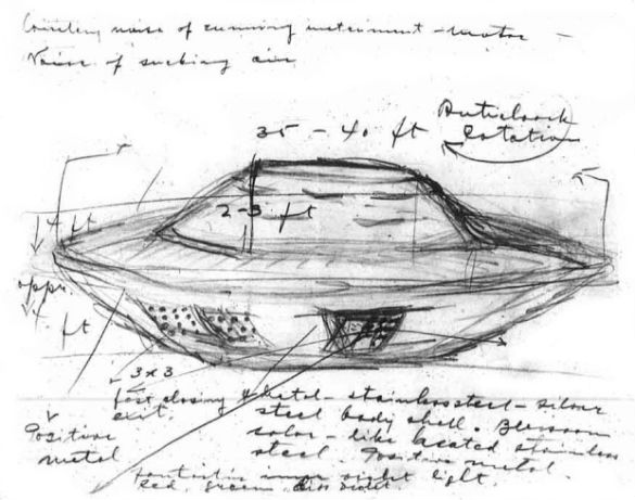 Stefan Michalak's sketch of the strange craft he encountered.
