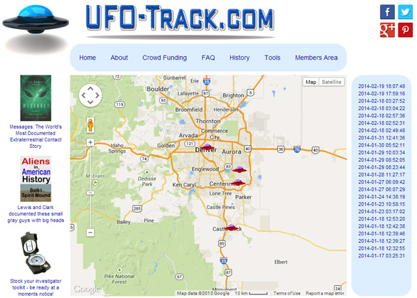 The UFO-Track website. (Credit: UFO-Track.com)
