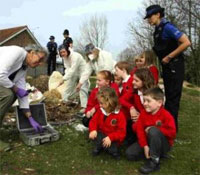 Students investigating the staged UFO crash (credit: Hampshire Chronicle)