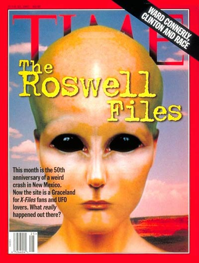 TIME Magazine cover featuring the 50th anniversary of the Roswell incident. (Credit: TIME Magazine)
