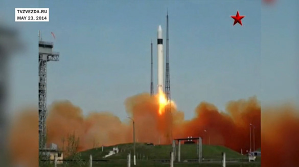 May 23, 2014 launch of the mysterious Russian 2014-28E satellite. See video of launch below. (Credit: tvzvezda.ru)