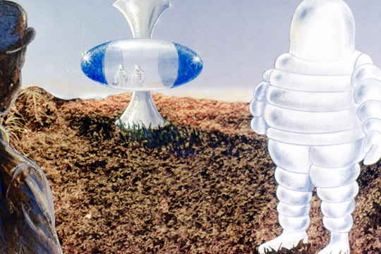 """The GEOS painting showing the 1968 CE-III with """"Michelin"""" aliens in the Plaine des Caffres, Reunion Island. (Image credit: GEOS)"""