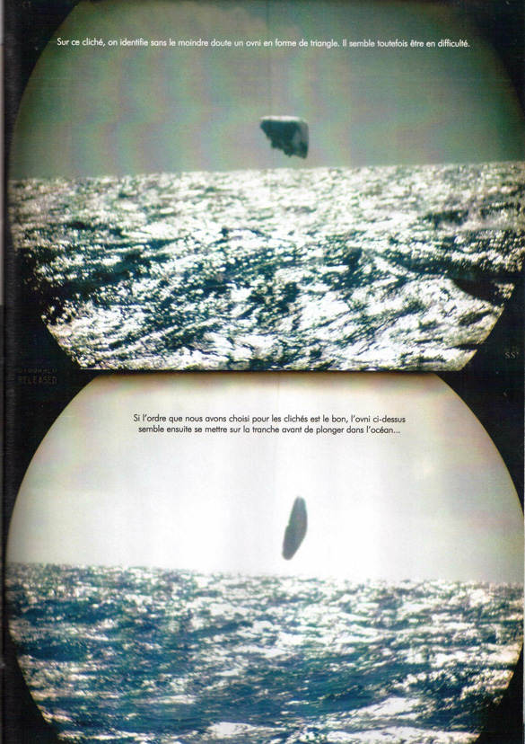 """Two of the images from the French magazine Top Secret. The caption reads, """"(Top) On this photo, we identify without a doubt a triangular-shaped UFO. It seems to be in trouble. (Bottom) If the order that we have chosen for these pictures is correct, the UFO here seems to now go sideways before plunging into the ocean…"""" (Credit: Top Secret/TheBlackVault.com)"""