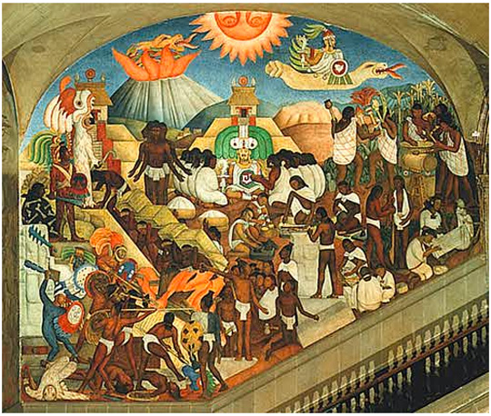 One of the murals by Diego Rivera in Mexico City's Presidential Palace showing Quetzalcoatl as the feather serpent god (upper right) and teaching mankind (center). (image credit: Ciudad de la Pintura)