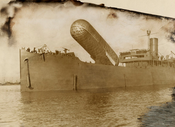 A view of the H.M.S Canning and its observation balloon. - Image discovered by TheBlackVault.com.  (Credit: National Geographic.)