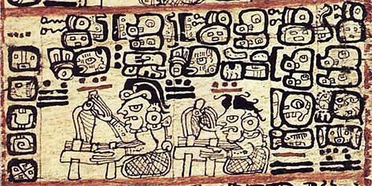 Mayan priests predicting the future, from the Madrid Codex. (image credit: Raíces/Arqueología Mexicana)