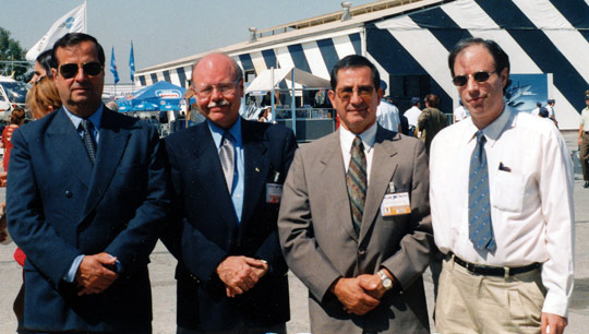 (Left to right) Gen. Ricardo Bermúdez, Dr. Richard Haines, Gustavo Rodríguez and Antonio Huneeus at the FIDAE 2000 international aeronautical expo in Santiago, where a CEFAA Conference and Workshop took place. (Image credit: Richard Haines)