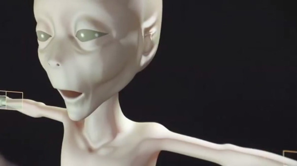 """Illistration from promotional video. During the live streamed press conference a researcher said this image was based off of the """"alien"""" from the slides. (Credit: Tercermilenio.tv)"""