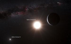 Artist's impression of a planet orbiting Alpha Centauri B. (Credit: ESO/L. Calçada)