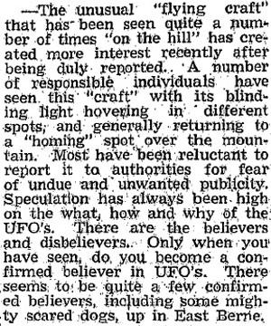 Blechner's November 1971 UFO story. (image credit: Altamont Enterprise)