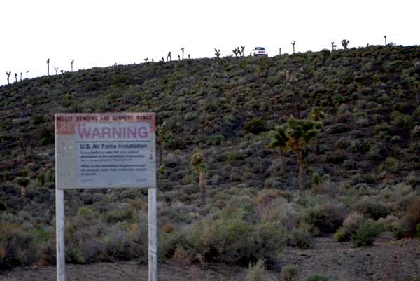 Warning signs at the Area 51 back entrance. (Credit: Alejandro Rojas)