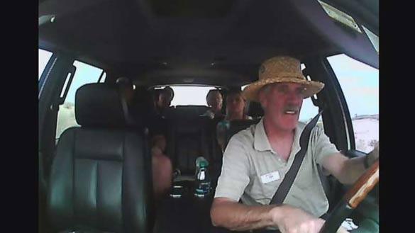 Tour van driver Denis Ryan unwittingly driving his passengers into Area 51. (Credit: KLAS/Adventure Photo Tours)