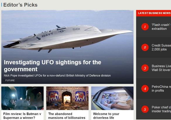 Nick Pope's article was a BBC editor's pick and featured on their front page. (Credit: BBC.com)