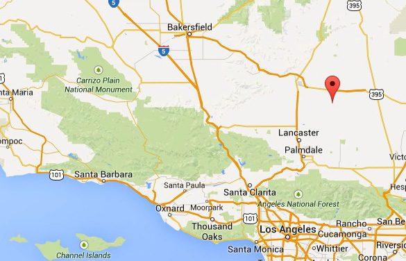 Map showing Bakersfield in relation to Lod Angeles and Edwards Air Force Base (red marker). (Credit: Google Maps)