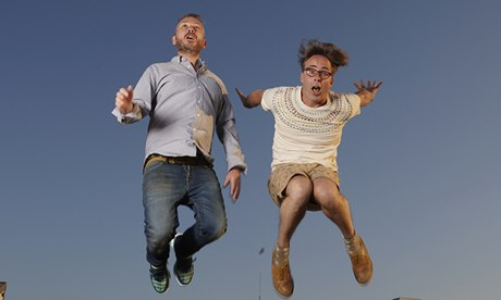 Basement Jaxx's Simon Ratcliffe (left) and Felix Buxton on the roof of their north London recording studio last month. Photograph: Andy Hall for the Observer