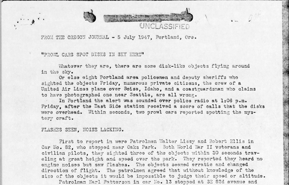 A page from the Blue Book file. (Credit: U.S. Air Force)