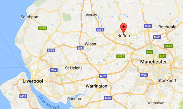 Bolton in relation to Manchester and Liverpool. (Credit: Google Maps)