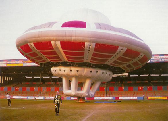 Virgin's UFO balloon on the ground at Surrey Field. (Credit: Virgin)
