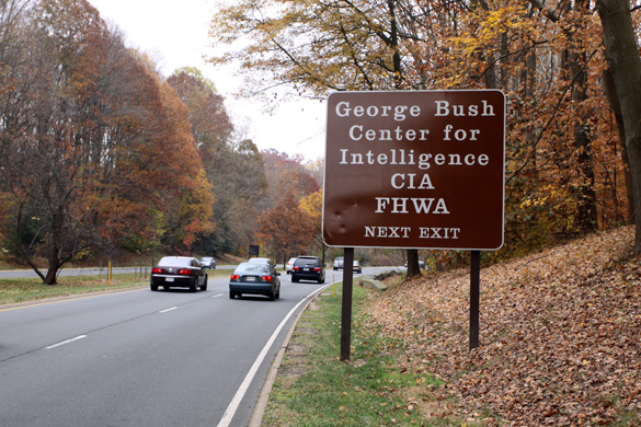 Central Intelligence Agency exit off the George Washington Parkway- Langley, Virginia. (Credit: Shepherd johnson)