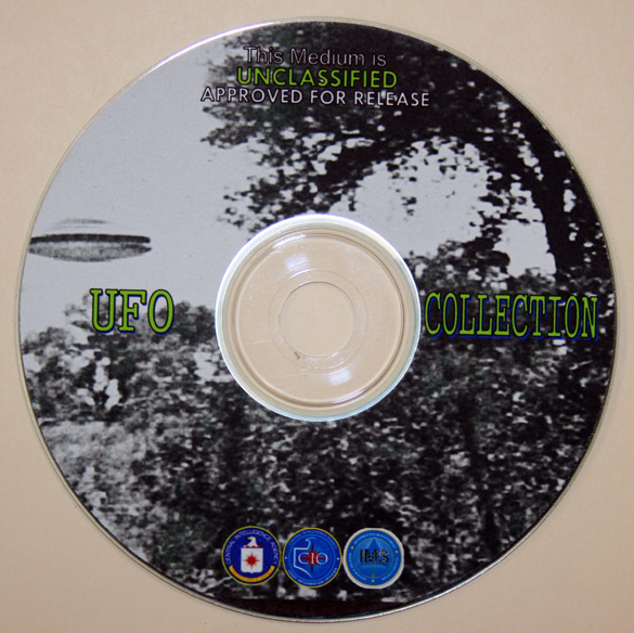 """CIA """"UFO Collection"""" compact disc. Received upon FOIA request for all declassified UFO documents from the CIA. (Credit: Shepherd Johnson)"""