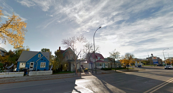 A Canadian witness at Estevan reported being overcome with fear after watching two, triangle-shaped UFOs move to the ground level . Pictured: Estevan. (Credit: Google)