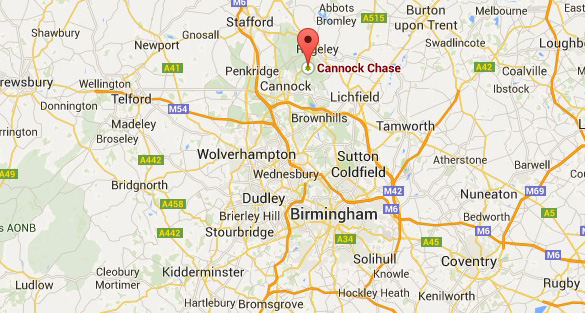 Map showing the location of Cannock Chase in relation to Birmingham. (Credit: Google Maps)