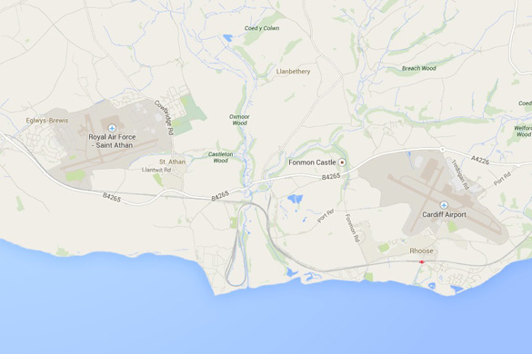 Map of Cardiff's proximity to St. Athan Royal Air Force base. (Credit: Google Maps)